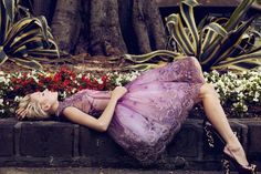Plaza Kvinna May 2012 - Rife with florals and utterly feminine, the Plaza Kvinna May 2012 editorial is set in a beautiful botanical garden. Purple Lace, Purple Dress, Looks Style, Looks Cool, Pretty Dresses, Beautiful Dresses, Gorgeous Dress, Hello Gorgeous, Mode Editorials