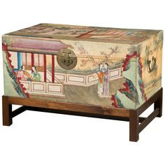 19th Century Painted Pigskin Trunk | From a unique collection of antique and modern trunks and luggage at https://www.1stdibs.com/furniture/more-furniture-collectibles/trunks-luggage/