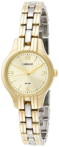 Carriage by Timex Women's C3C382 Two-Tone Round Case Champaign Dial Two-Tone Bracelet Watch * Visit the image link more details.