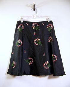 Anthropologie ODILLE Silk Skirt Sz 8 Black w/ Velvet Floral Bouquets ~ Lined #Odille #esmesdrawer