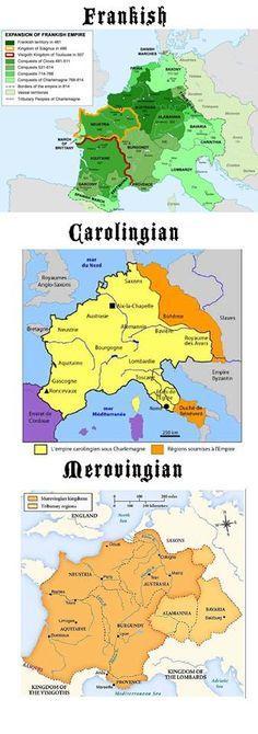 Dinastías altomedievales francesas desde la invasión de los francos.