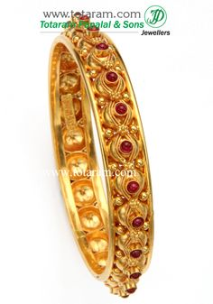 Totaram Jewelers: Buy 22 karat Gold jewelry & Diamond jewellery from India: Fine Gold Bangle - Single Piece (Temple Jewelery) Diamond Jewelry, Gold Jewelry, Jewelery, Gold Bangles Design, Antique Jewelry, Single Piece, Bling, Bracelets, Image