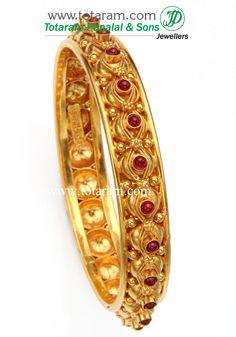 Totaram Jewelers: Buy 22 karat Gold jewelry Diamond jewellery from India: 22K Fine Gold Bangle - Single Piece (Temple Jewelery)