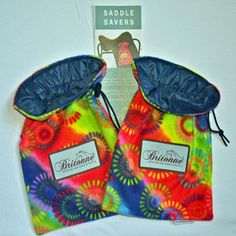 Medallion Saddle Savers with navy rip-stop fabric lining (perfect for wet weather and/or cheese grater type stirrups)