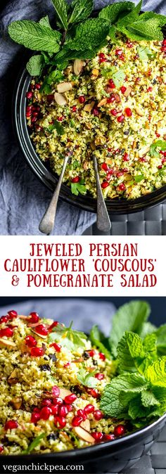 This grain-free cauliflower 'couscous' salad is flavored with Persian spices, jeweled with dried currants and ruby red beads of pomegranate, and lightened up with lemon, fresh mint and parsley. A beautiful and flavorful vegan, paleo and gluten free addition to any holiday, or non-holiday, table! #vegan #recipe #cauliflower #pomegranate #salad #glutenfree #paleo #persian