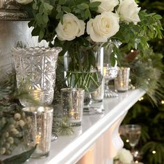 White traditional and country Christmas decorating
