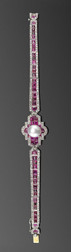 Natural Pearl, Ruby and Diamond Bracelet by Van Cleef & Arpels, circa 1920
