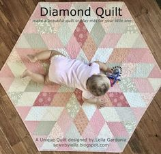 Diamond Quilt - A Tutorial for a unique baby quilt/play mat. Fast, simple, hexagon quilt made with diamonds. (pink, rose, ivory)