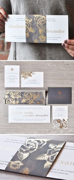 gold and grey wedding invitation design from Engaging Papers - Deer Pearl Flowers / http://www.deerpearlflowers.com/wedding-stationery/gold-and-grey-wedding-invitation-design-from-engaging-papers/
