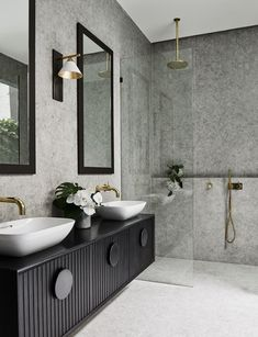 The layout in Alisa and Lysandra's bathroom renovation allows for plentiful storage in a sexy, on-trend black tone. Picture: Lisa Cohen Photography Source by ssbyhk Bathroom Tile Designs, Modern Bathroom Design, Bathroom Interior Design, Bathroom Ideas, Bathroom Organization, Bath Design, Bathroom Layout, Shower Ideas, Interior Design Layout