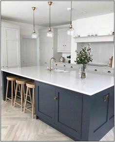 72 Adorable White Kitchen Design Ideas For You ~ House Design Ideas Open Plan Kitchen Living Room, Kitchen Dining Living, Home Decor Kitchen, Interior Design Kitchen, New Kitchen, Home Kitchens, Kitchen Ideas, Kitchen Wood, Large Kitchen Inspiration