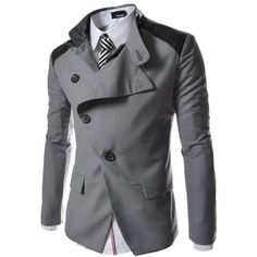 TheLees Mens casual china collar rider style slim Jacket ($52) ❤ liked on Polyvore featuring mens, men's clothing, men's outerwear, men's jackets, men, menswear and his stuff 0.1