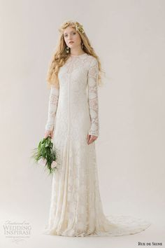 rue de seine wedding dress 2015 bridal cotten jewel neckline lace long sleeves cotton button keyhole back soft a line gown chloe