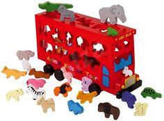 Double Decker wooden shape sorter bus with 26 animals. Each of the 26 shapes fit into the pre-cut holes which are marked with the letters of the alphabet. Back door of the bus opens to retrieve shapes. Wooden Animal Toys, Wood Toys, Pet Toys, Kids Toys, Animal Puzzle, Wooden Shapes, Kids Board, London Bus, Wooden Puzzles