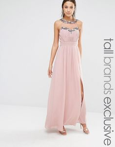 Image 1 ofLittle Mistress Tall Maxi Dress With Mesh And Embellishment…