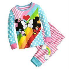 Mickey and Minnie Mouse Kiss Pajamas for Girls Size 6 Disney #Disney #PajamaSet