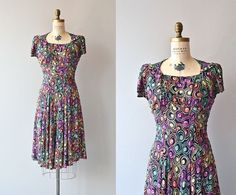 Confectionary Guild dress • vintage 1940s dress • printed rayon 40s dress