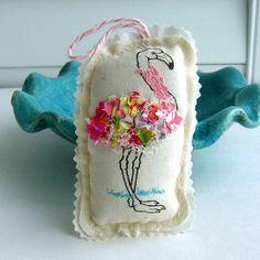 tropical bird flamingo ornament, ruffle ornament,  Florida ornament, bird ornament, Coastal Christmas,Tropical Noel, Pink ornament  No.403