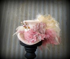 Blush pink and Cream Mini Top Hat Alice in Wonderland by ChikiBird