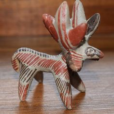 GUERRERRO POLYCHROME POTTERY Hand Modelled Built MOOSE FIGURE Folk Art Figurine
