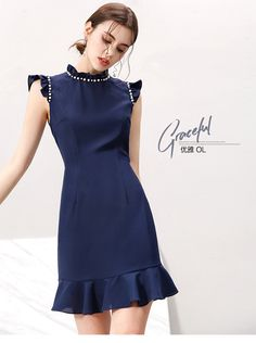A simple blue dress Vintage Dresses, Nice Dresses, Casual Dresses, Short Dresses, Dresses For Work, Fashion 101, Vogue Fashion, Dress Images, Western Dresses