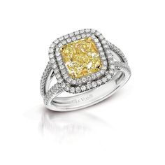 Canary Diamond Engagement Ring! Available at Houston Jewelry!
