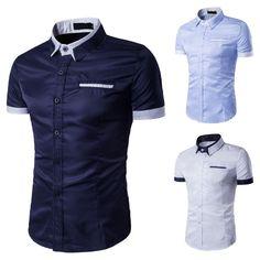 Fashion Men's Slim Fit Casual Polo Shirt Short Sleeve Shirt T-Shirt Tee Tops w | eBay
