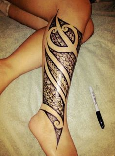 Love the design done by this Sharpie!  #polynesian #tattoo