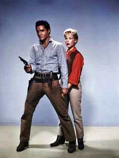 """Elvis Presley and Barbara Eden in a publicity still for """"Flaming Star"""""""