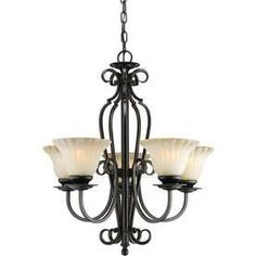 Shandy 23-In 5-Light Bordeaux Tinted Glass Candle Chandelier Lw2202056