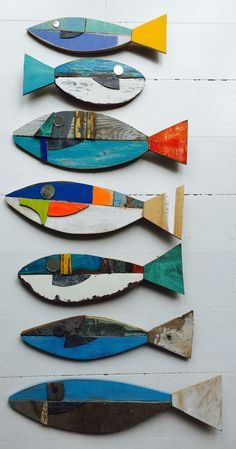 decoración madera reciclada de peces