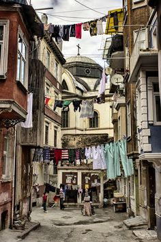 Building-to-Building Clotheslines in Tarlabaşı, a neighbourhood in the Beyoğlu district of Istanbul, Turkey