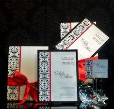 Invitación vintage montada en blanco y negro con un toque de rojo www.artiksociales.com