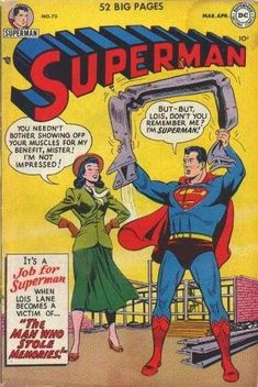1952-03 - Superman Volume 1 - #75 - The Man Who Stole Memories #SupermanFan #SupermanComics #Superman #ComicBooks  #DCComics