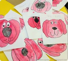 Cifford Paintings - bulletin board display - dog watercolor pictures - art project