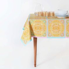 .pink.gold.patter.  ZaraHome  Patchwork Tablecloth