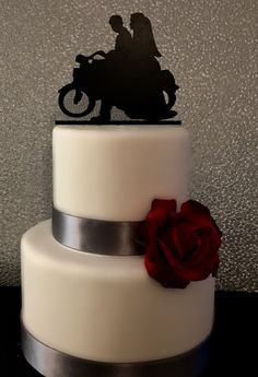 Mr And Mrs Wedding Cake Topper With Last NameBride Groom On Motorcycle SilhouetteCustom TopperCouple Moto C125