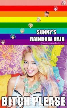 Sunny versus Hyoyeon! Rainbow Hair Wars!! LOL