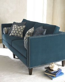 "blue ""Langston"" sofa / couch from Harchow ~ nice Moroccan print throw pillows ~ love the grommet detailing ~ nice living room ~ I guess they made this for you, @Mallory Spencer Langston!"