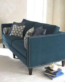 turquoise nailhead trim Horchow sofa
