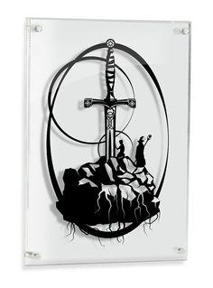 Sword in the Stone Excalibur King Arthur Merlin -  Original shadow hand cut paper craft fairy tale art unique wall decor fable art