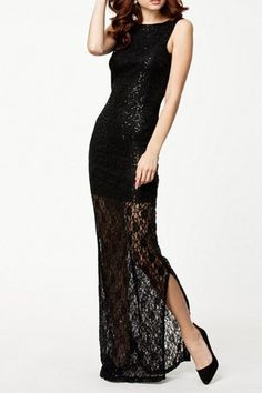 Round Collar Sleeveless Backless Lace Sequin Embellished Dress – teeteecee - fashion in style Lovely Dresses, Beautiful Gowns, Elegant Dresses, Formal Dresses, Black M, Embellished Dress, Sammy Dress, Party Gowns, Dress Up