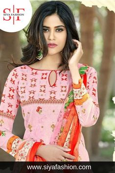 7297abd05bd56 Siya #Fashion Fancy Light Pink #Suit Top Fabric :- Cambric Cotton Print With