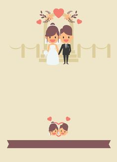 Cartoon couple wedding invitation poster background