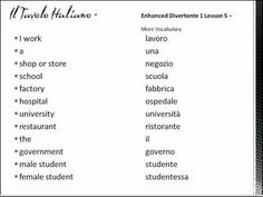 Quickly learn these 12 simple Italian words through repetition.