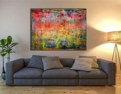 Very textured painting with bright yellow background and vibrant red,green and orange contrast. For this piece I use mainly palette knifes and bold paint drips over and over again. lots of energy i...