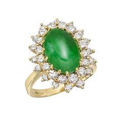 Estate Betteridge Collection Jade & Diamond Cluster Ring