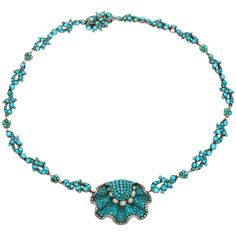 A fabulous Turquoise and Natural Pearl Necklace from the Victorian period 1875. This is a spectacular piece to die for in 2014!