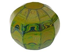Unusual and Rare 19th Century Glass Paperweight, of ten sided faceted form having a mottled green and yellow 'malachite' finish, 7cm diameter