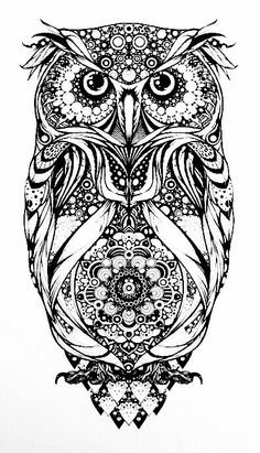 tattoo owl coloring pages - photo#24